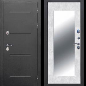 Входная дверь с терморазрывом ТЕРМО Букле чёрный Зеркало MAXI Бетон снежный